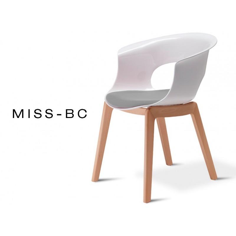 MISS-BC chaise assise capitonnée tissé gris tourterelle, piétement bois de hêtre naturel (lot de 6 chaises).