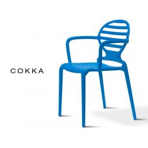 COKKA chaise design pour terrasse, finition bleu (lot de 6 chaises).