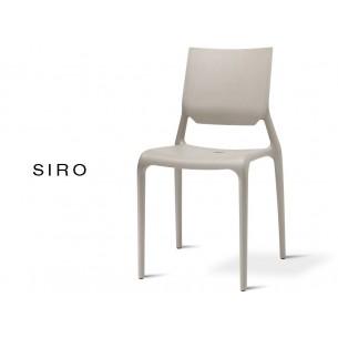 SIRO chaise design pour terrasse, finition gris tourterelle (lot de 6 chaises).