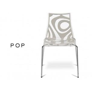 POP chaise déco en technopolymère, motif couleur lin (lot de 6 chaises).