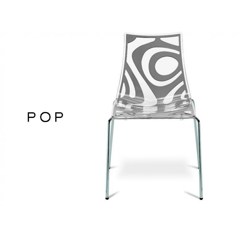 POP Chaise Deco En Technopolymere Motif Couleur Anthracite Lot De 6 Chaises