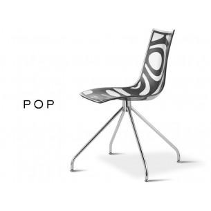 POP chaise déco en technopolymère, assise motif anthracite (lot de 6 chaises).