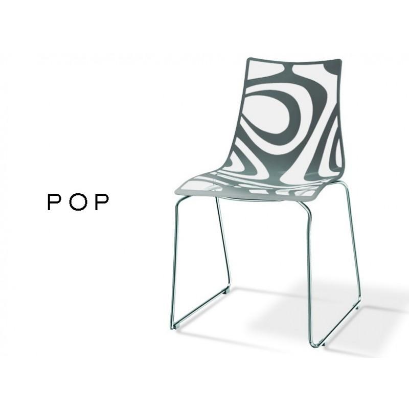 POP Chaise Deco En Technopolymere Pied Luge Motif Couleur Anthracite Lot De 6 Chaises