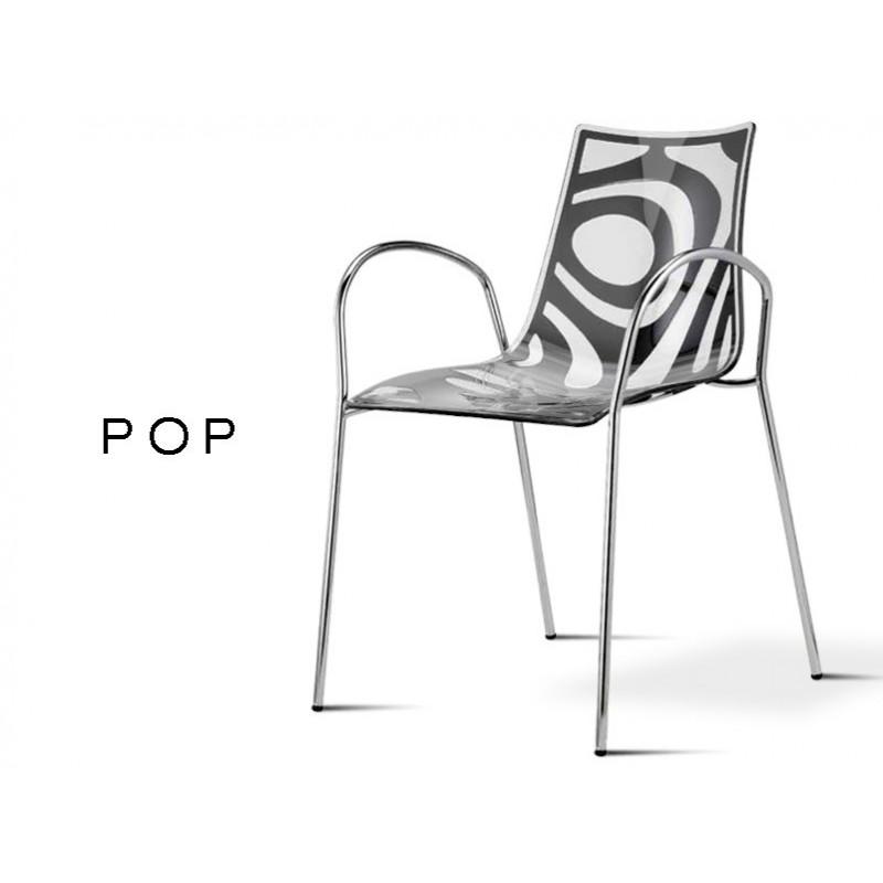 POP fauteuil déco en technopolymère, motif couleur anthracite (lot de 6 chaises).