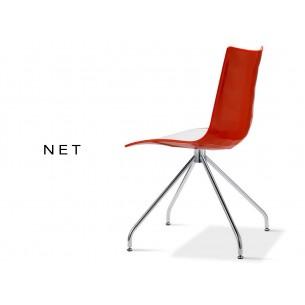 NET chaise coque bicolore rouge (lot de 6 chaises).