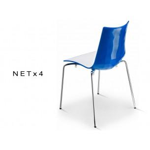 NET-4 chaise bicolore coque dos multifacettes dos bleu (lot de 6 chaises).