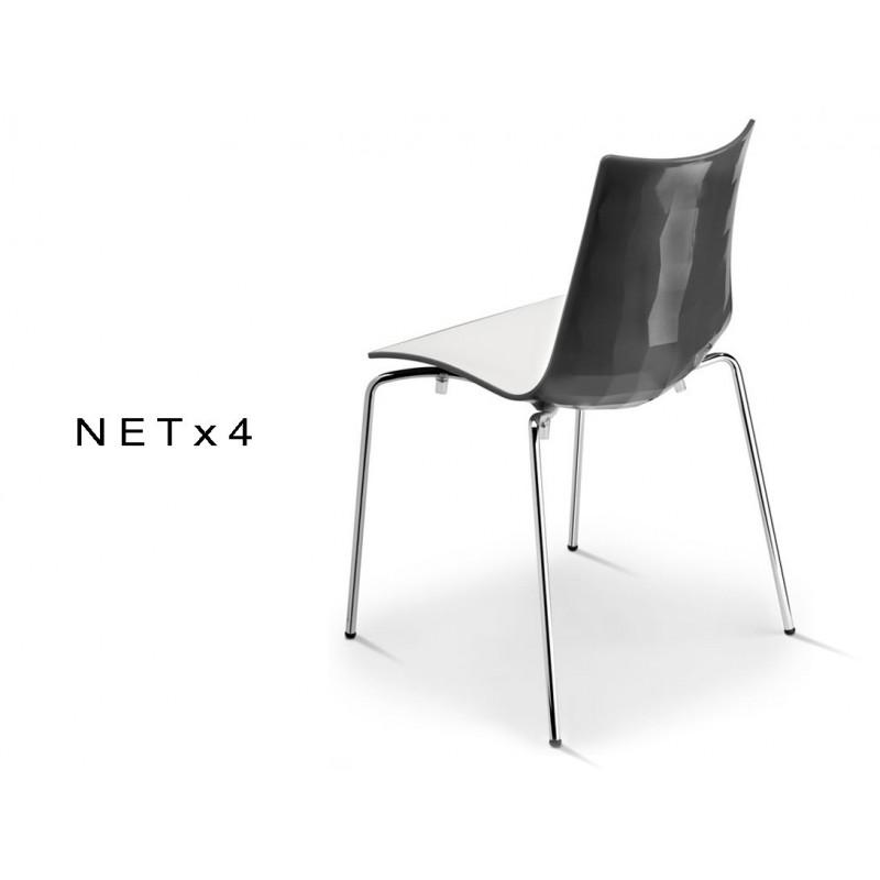 NET-4 chaise bicolore coque dos multifacettes dos noir (lot de 6 chaises).