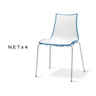 NET-4 chaise bicolore coque dos multifacettes pour extèrieure dos bleu (lot de 6 chaises).