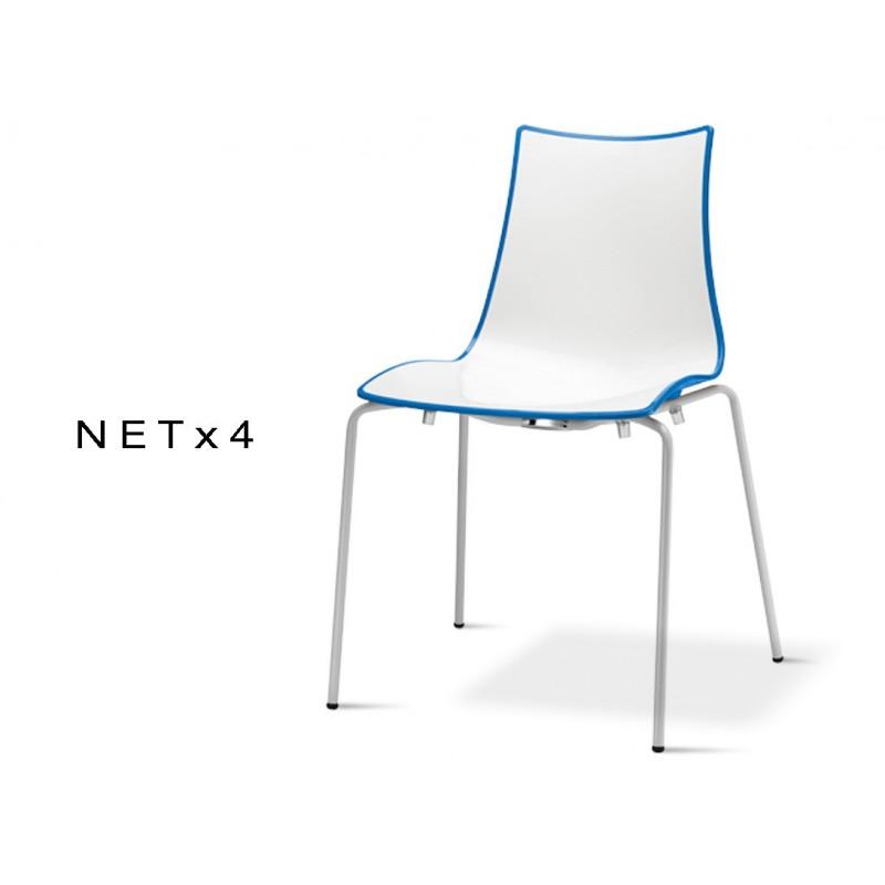 NET 4 Chaise Bicolore Coque Dos Multifacettes Pour Exterieure Bleu Lot De 6