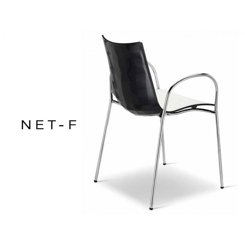 NET-fauteuil bicolore dos multifacette noir (lot de 6 fauteuils).