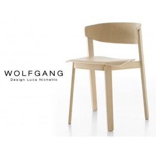 WOLFGANG chaise bois de chêne design, finition vernis naturel.