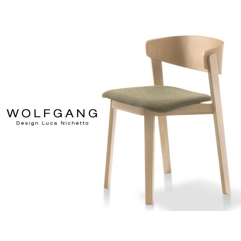WOLFGANG Chaise Design En Bois Vernis Naturel Assise Capitonnee Couleur Chanvre