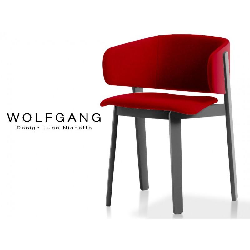 WOLFGANG black fauteuil design bois, capitonné couleur rouge.