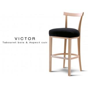 VICTOR tabouret bois, capitonné aspect cuir ou tissu au choix.
