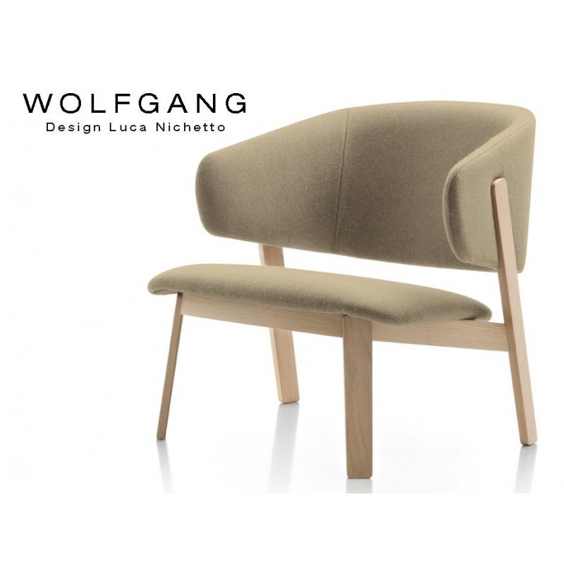 Fauteuil Design Lounge Wolfgang Pietement Bois Naturel Assise Et Dossier Garnis Habillage Tissu Synthetique