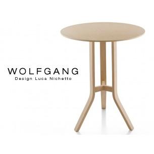 WOLFGANG table ronde Ø65 cm, pour bar en bois de chêne, finition naturel.