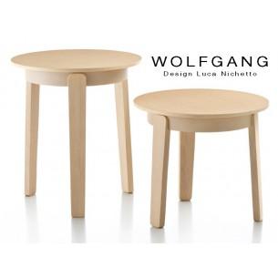 WOLFGANG small table ronde d'appoint en bois de chêne, finition naturel.