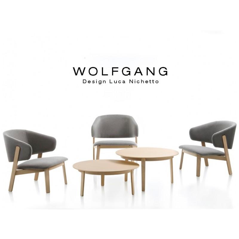 Table d'appoint ou guéridon rond WOLFGANG structure en bois