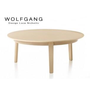 WOLFGANG wide table ronde d'appoint en bois de chêne, H35, finition naturel.