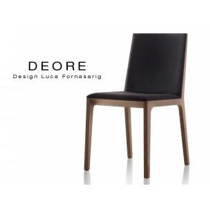 DEORE chaise design bois assise capitonné finition bois Mahogany assise noir.