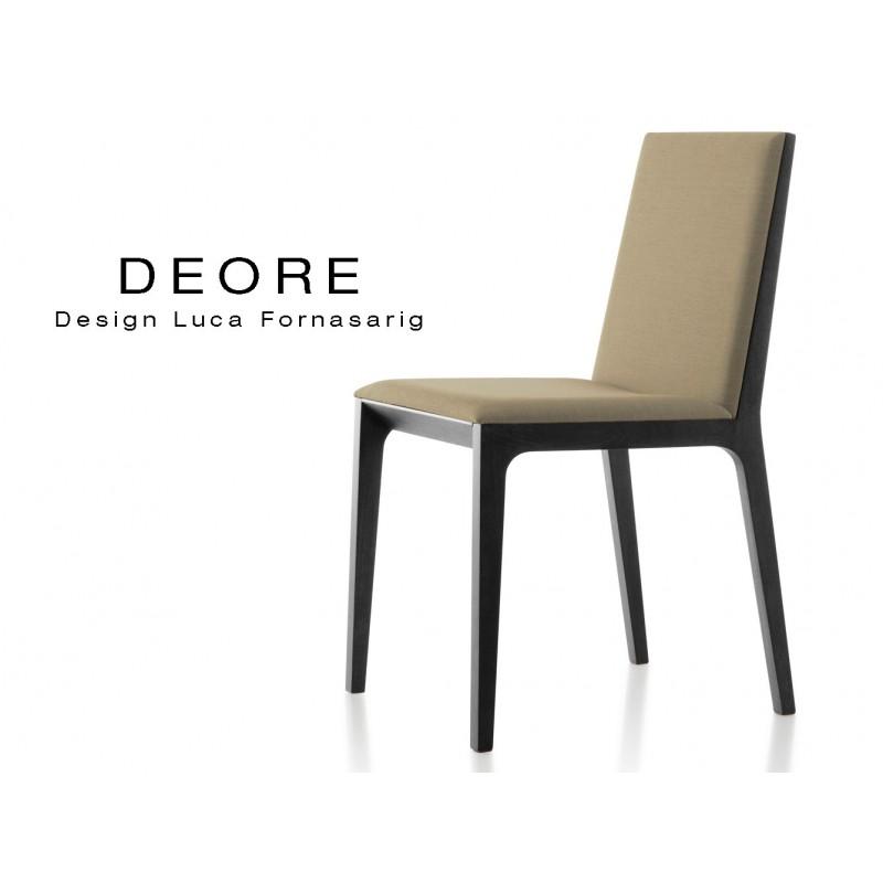 DEORE chaise design bois finition peinture noir, assise capitonnée chanvre.
