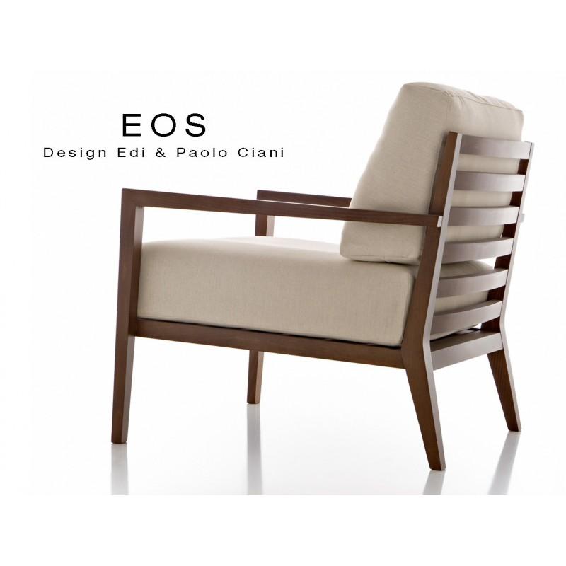 Fauteuil pour salon lounge h tellerie eos structure bois 4 pieds assise et dossier garnis - Fauteuils salon design ...