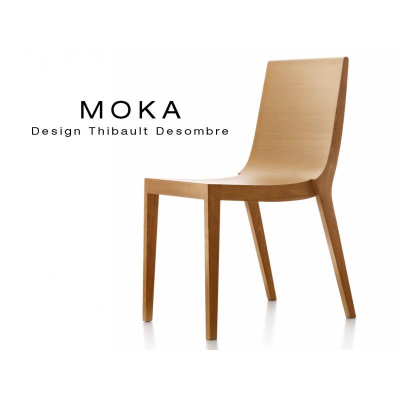 Chaises Design MOKA En Bois De Hetre Massif Assise Et Dossier Chene Finition