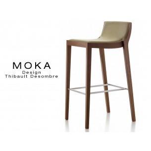 Tabouret design MOKA, finition bois vernis acajou, assise capitonnée tissu chanvre.