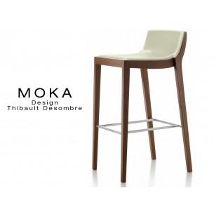 Tabouret design MOKA assise rembourrée, vernis acajou, habillage cuir couleur blé.