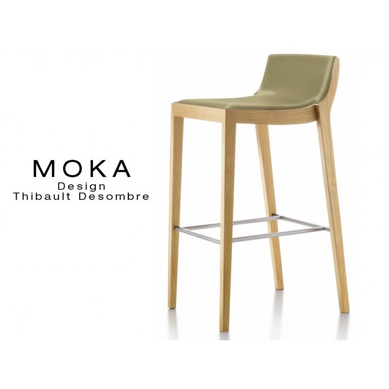 Tabouret design MOKA assise rembourrée, vernis hêtre naturel, habillage cuir couleur sahara.
