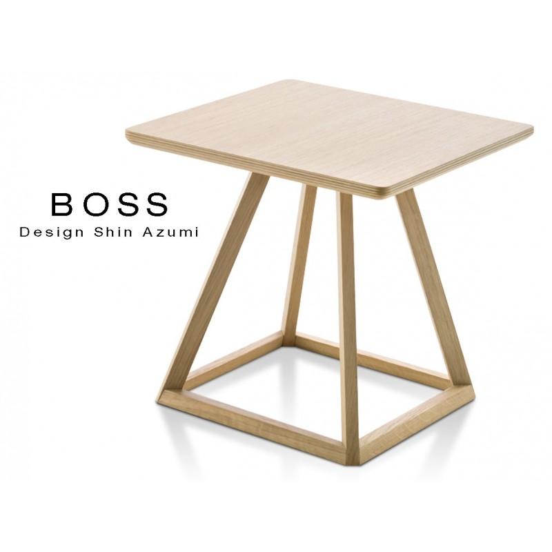 Table design d'appoint BOSS-H35 en bois de hêtre, couleur chêne clair.
