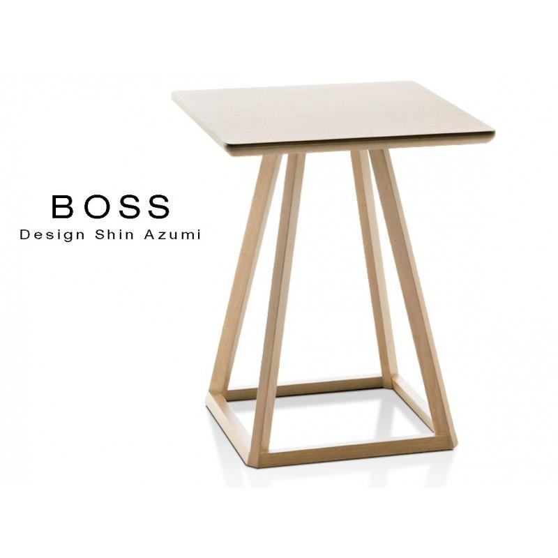 Table design d'appoint BOSS-H45 en bois de hêtre, finition chêne naturel.